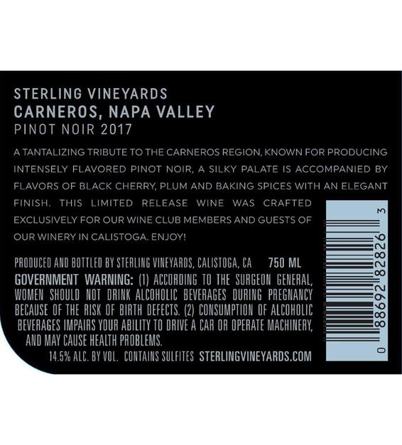 2017 Sterling Vineyards Carneros Pinot Noir Back Label