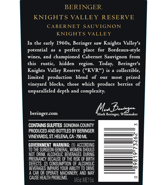 2017 Beringer Knights Valley Cabernet Sauvignon Back Label