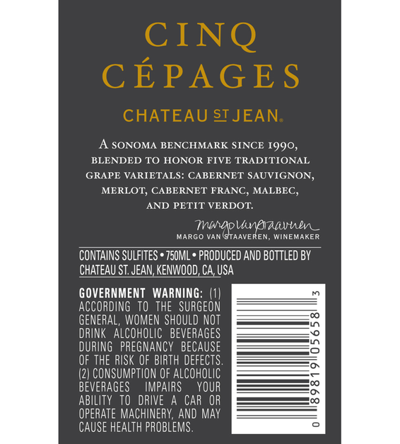 2013 Chateau St. Jean Cinq Cépages Sonoma County Red Blend Back Label