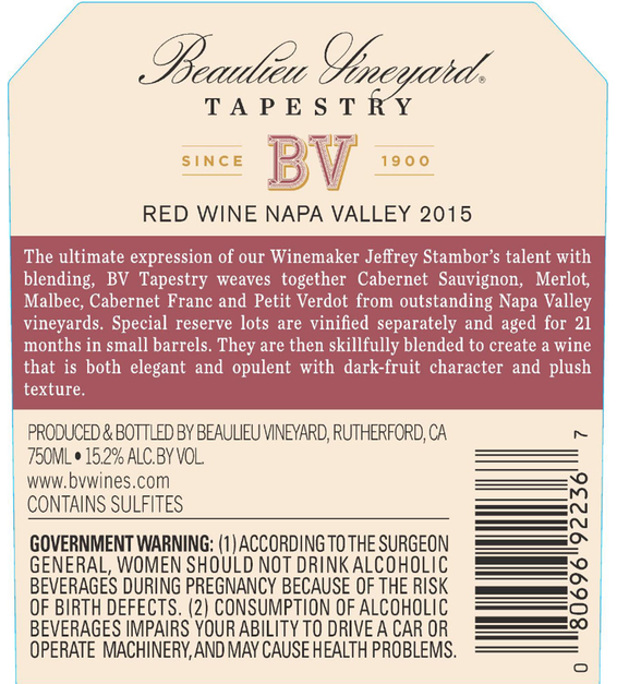 2015 Beaulieu Vineyard Reserve Tapestry Napa Valley Red Blend Back Label