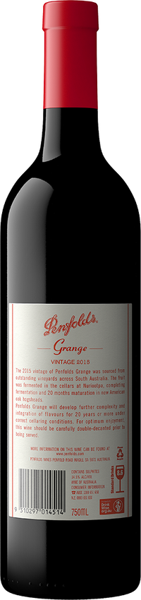 2015 Penfolds Grange Shiraz Back Label