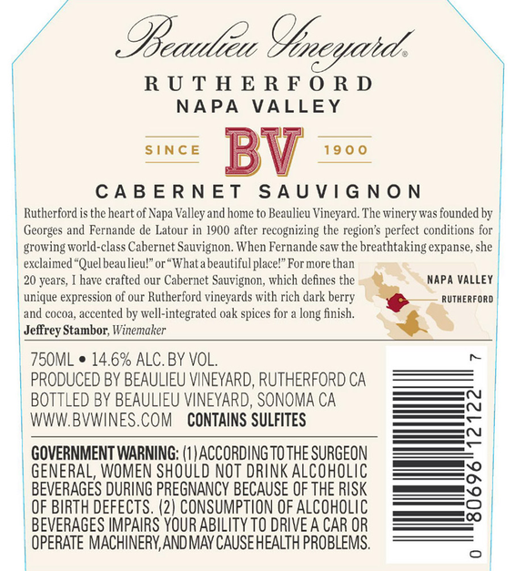 2016 Beaulieu Vineyard Rutherford Cabernet Sauvignon Back Label