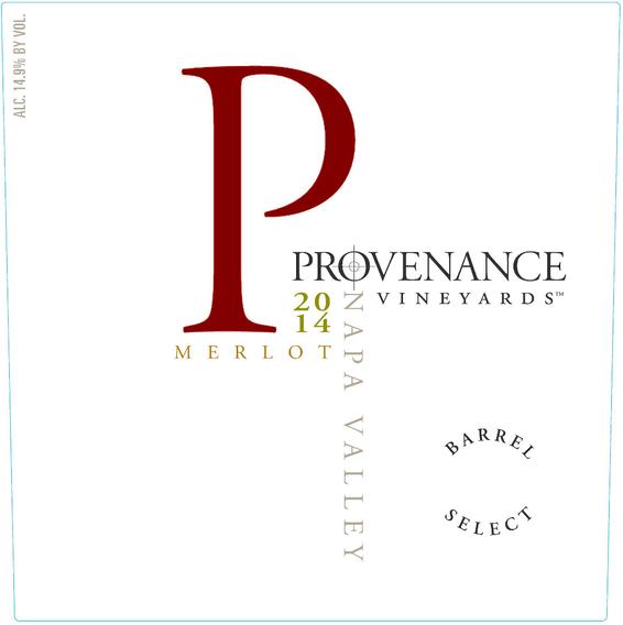 2014 Provenance Vineyards Barrel Select Napa Valley Merlot Front Label