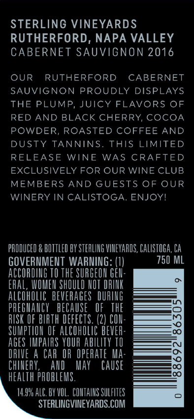 2016 Sterling Vineyards Rutherford Cabernet Sauvignon Back Label