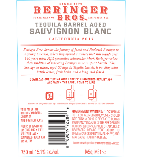 2017 Beringer Brothers Tequila Barrel Aged Sauvignon Blanc Back Label