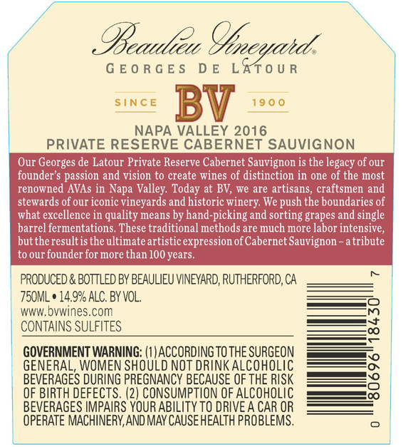 2016 Beaulieu Vineyard Georges de Latour Private Reserve Napa Valley Cabernet Sauvignon Back Label