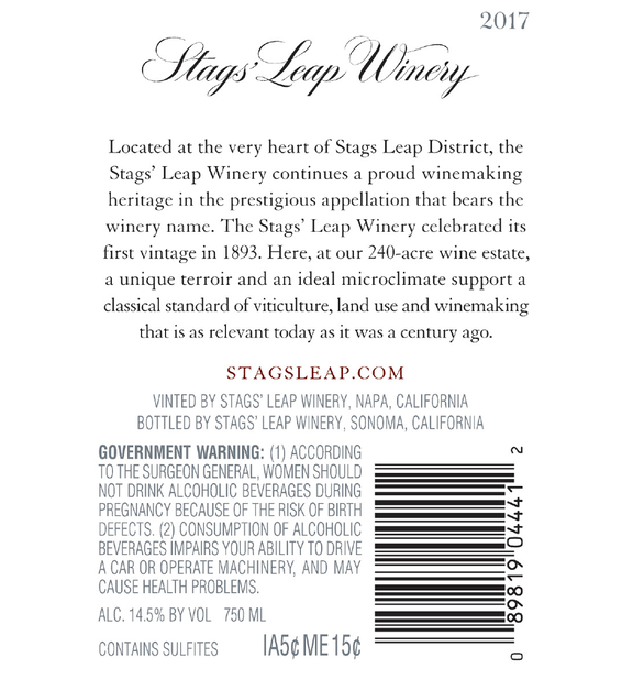 2017 Stags' Leap Napa Valley Merlot Back Label