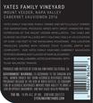 2016 Sterling Vineyards Yates Family Vineyard Mount Veeder Cabernet Sauvignon Back Label, image 3
