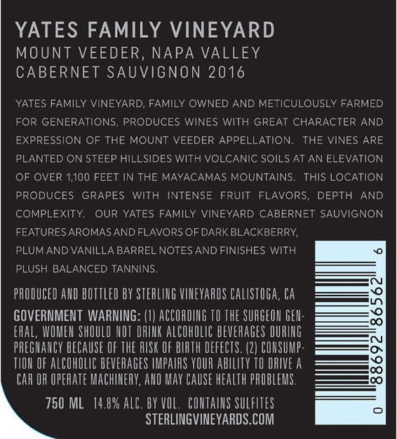 2016 Sterling Vineyards Yates Family Vineyard Mount Veeder Cabernet Sauvignon Back Label