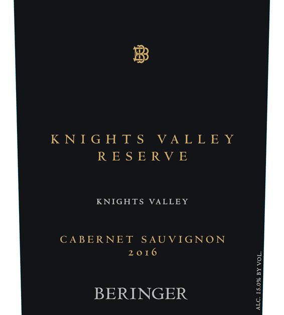 2016 Beringer Knights Valley Reserve Cabernet Sauvignon Front Label