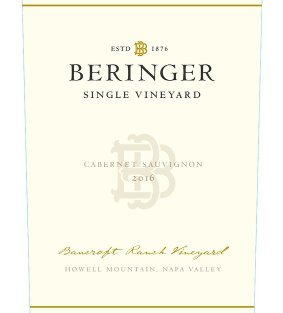 2016 Beringer Bancroft Ranch Howell Mountain Cabernet Sauvignon Front Label