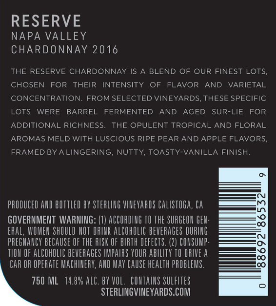 2016 Sterling Vineyards Reserve Chardonnay