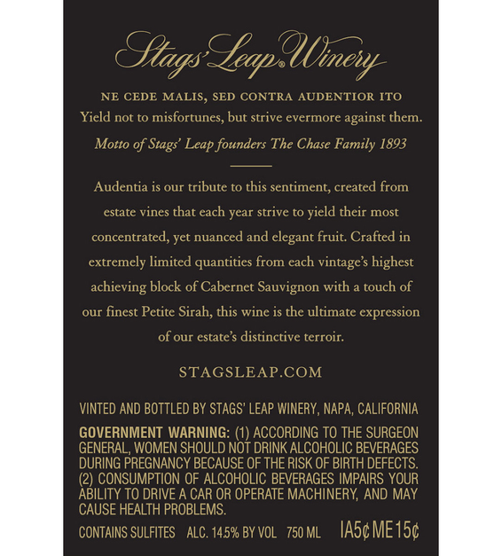 2015 Stags' Leap Audentia Estate Grown Napa Valley Cabernet Sauvignon Back Label