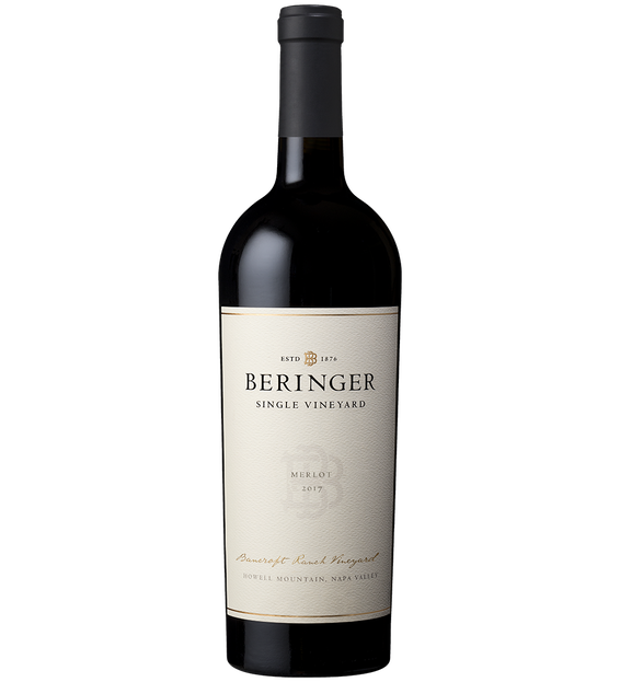 2017 Beringer Bancroft Ranch Vineyard Howell Mountain Napa Valley Merlot Bottle Shot