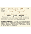 2017 Chateau St. Jean Late Harvest Belle Terre Vineyard Alexander Valley Riesling 375ml Back Label, image 3