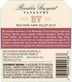 2018 Beaulieu Vineyard Tapestry Reserve Red Wine Napa Valley Back Label, image 3
