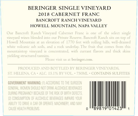 2018 Bancroft Ranch Howell Mountain Cabernet Franc Back Label