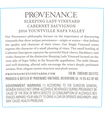 2016 Provenance Vineyards Sleeping Lady Vineyard Yountville Cabernet Sauvignon Back Label, image 3