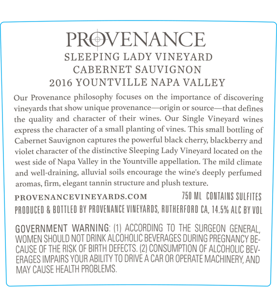 2016 Provenance Vineyards Sleeping Lady Vineyard Yountville Cabernet Sauvignon Back Label