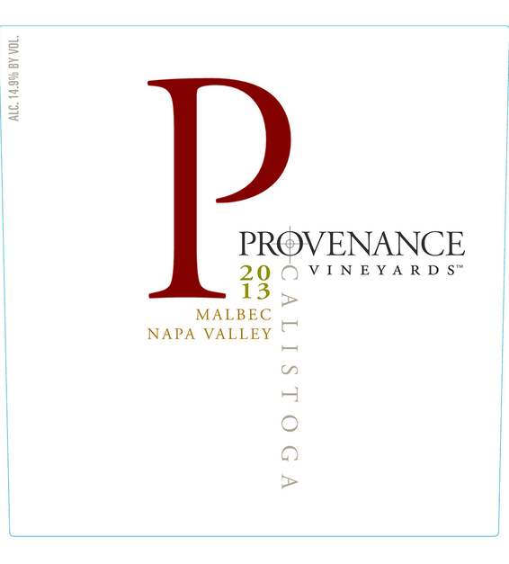 2013 Provenance Vineyards Napa Valley Malbec Front Label