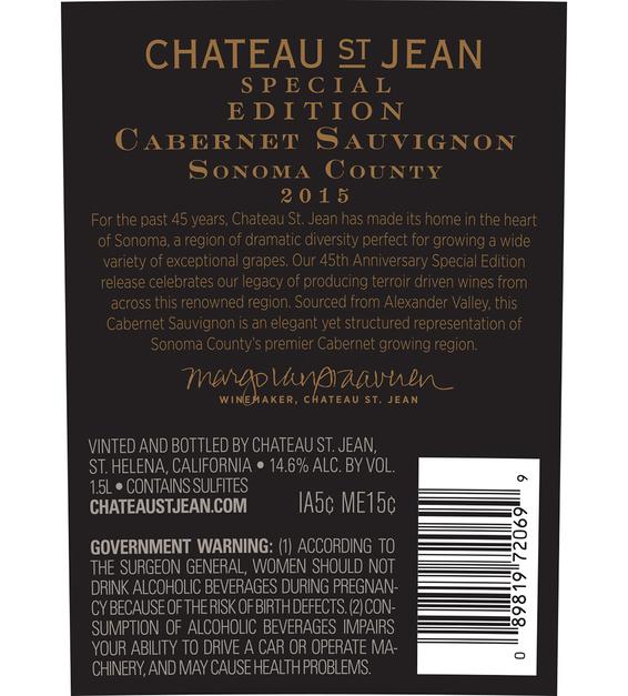 2015 Chateau St. Jean 45th Anniversary Alexander Valley Cabernet Sauvignon Magnum Back Label