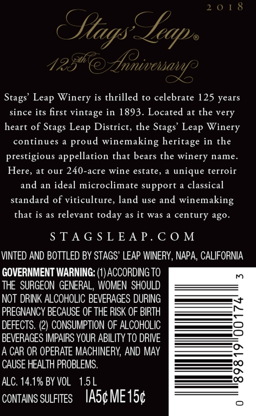 2018 Stags' Leap 125th Anniversary Petite Sirah Magnum Back Label