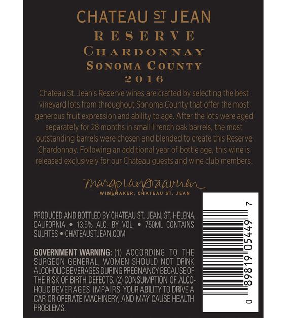 2016 Chateau St. Jean Reserve Sonoma County Chardonnay Back Label