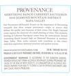 2016 Provenance Vineyards Barrel Select Rutherford Cabernet Sauvignon Back Label, image 3