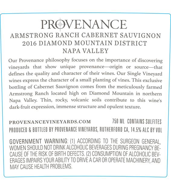 2016 Provenance Vineyards Barrel Select Rutherford Cabernet Sauvignon Back Label