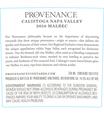 2016 Provenance Vineyards Calistoga Malbec Back Label, image 3