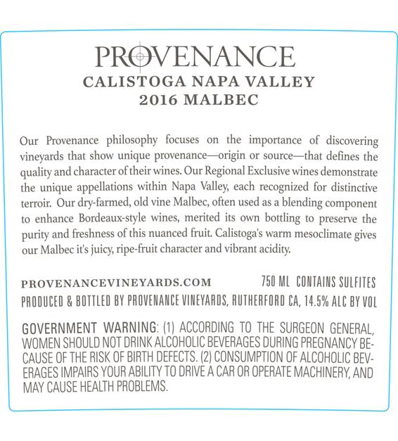 2016 Provenance Vineyards Calistoga Malbec Back Label