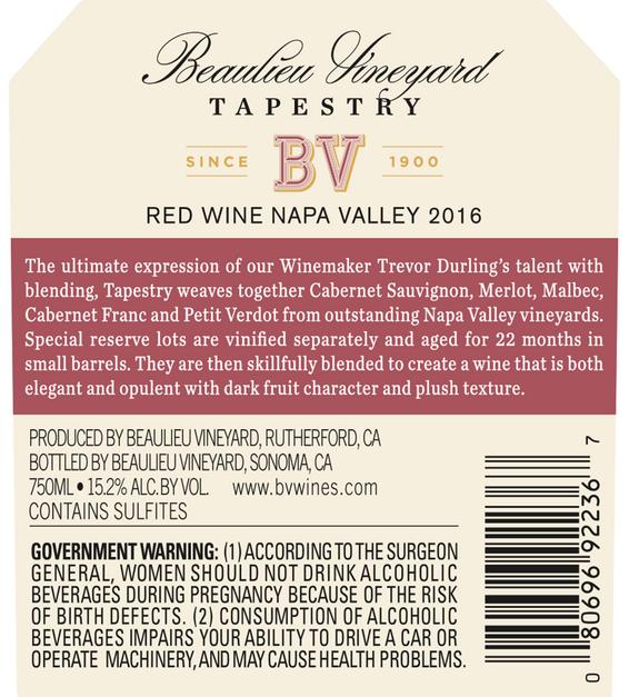 2016 Beaulieu Vineyard Reserve Tapestry Napa Valley Red Blend Back Label