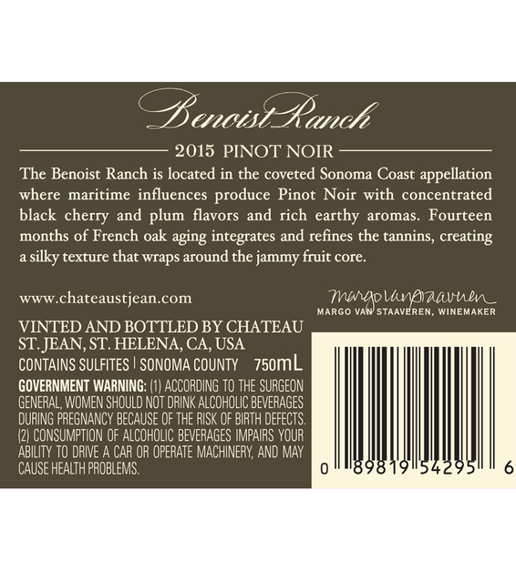 2015 Chateau St. Jean Grace Benoist Ranch Sonoma Coast Pinot Noir Back Label