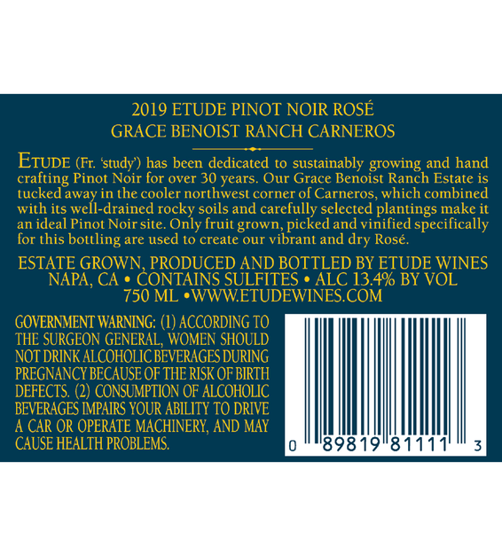 Back Label: 2019 Etude Carneros Rose of Pinot Noir