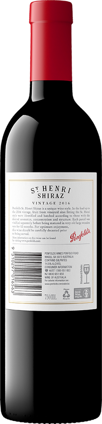 2016 Penfolds St Henri Shiraz Back