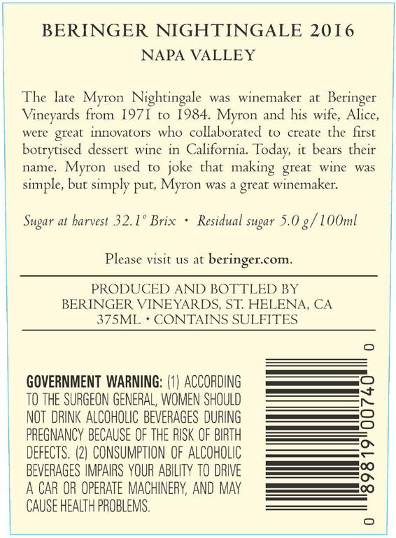 2016 Beringer Nightingale Napa Valley Semillon Sauvignon Blanc Back Label