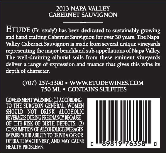 Etude 2013 Napa Valley Cabernet Sauvignon Back Label