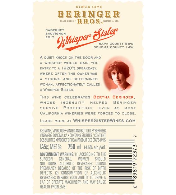2017 Beringer Whisper Sisters Cabernet Sauvignon Back Label