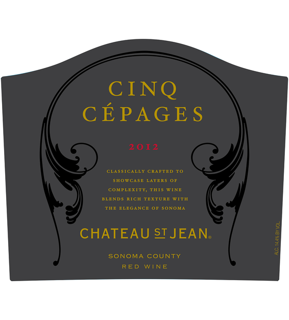 2012 Chateau St. Jean Cinq Cépages Sonoma County Red Blend Front Label