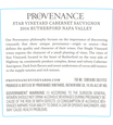 2016 Provenance Vineyards Star Vineyard Rutherford Cabernet Sauvignon Back Label, image 3