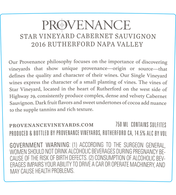 2016 Provenance Vineyards Star Vineyard Rutherford Cabernet Sauvignon Back Label