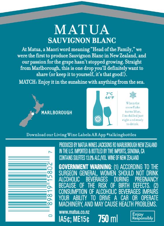 2019 Matua Marlborough Sauvignon Blanc Back Label
