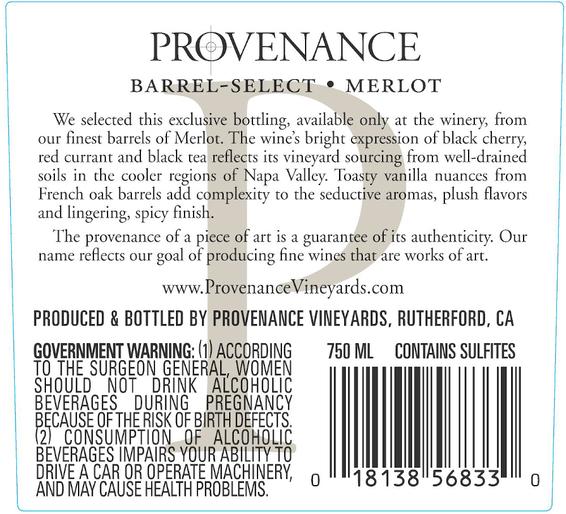 2014 Provenance Vineyards Barrel Select Napa Valley Merlot Back Label
