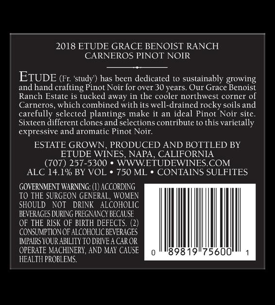 2018 Etude Carneros Estate Pinot Noir Back Label