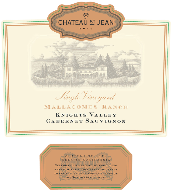 2016 Chateau St. Jean Mallacomes Vineyard Knights Valley Cabernet Sauvignon Front Label