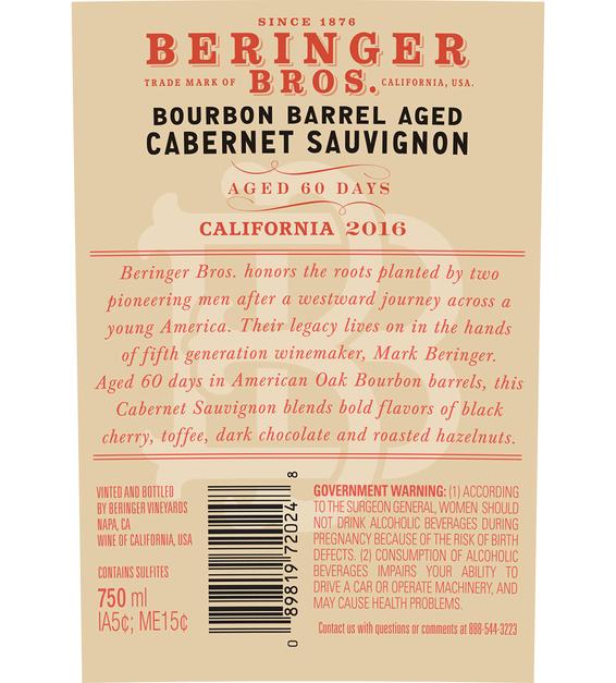 2016 Beringer Brothers Bourbon Barrel Aged Cabernet Sauvignon Back Label