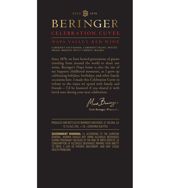 2016 Beringer Celebration Cuvee Red Blend Napa Valley Magnum Back Label