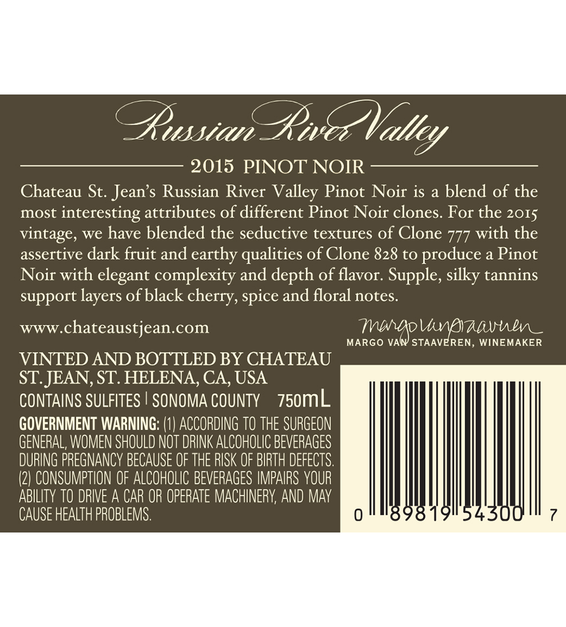 2015 Chateau St. Jean Russian River Valley Pinot Noir Back Label