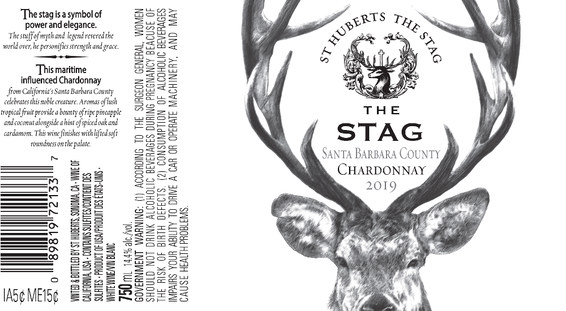 2019 St. Huberts The Stag Santa Barbara County Chardonnay Front & Back Label