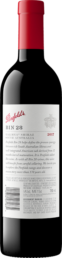2018 Penfolds Bin 28 Shiraz Back Label